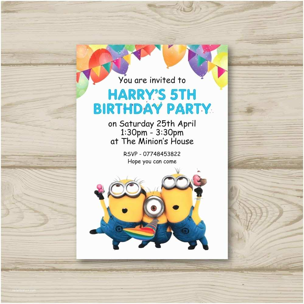 Childrens Birthday Party Invitations 10 Personalised Minions Children Birthday Party