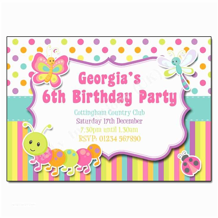 Childrens Birthday Party Invitations Bugs Butterfly Children S Invitation