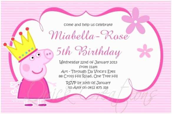 Childrens Birthday Party Invitations Childrens Birthday Invitations Princess Peppa Pig