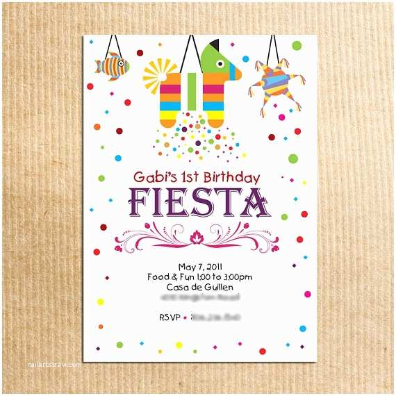 Childrens Birthday Party Invitations Childrens Fiesta Birthday Party Invitation Stationery by