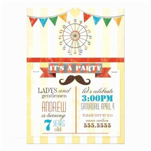 Childrens Birthday Party Invitations Circus theme Childrens Birthday Party 5x7 Paper Invitation