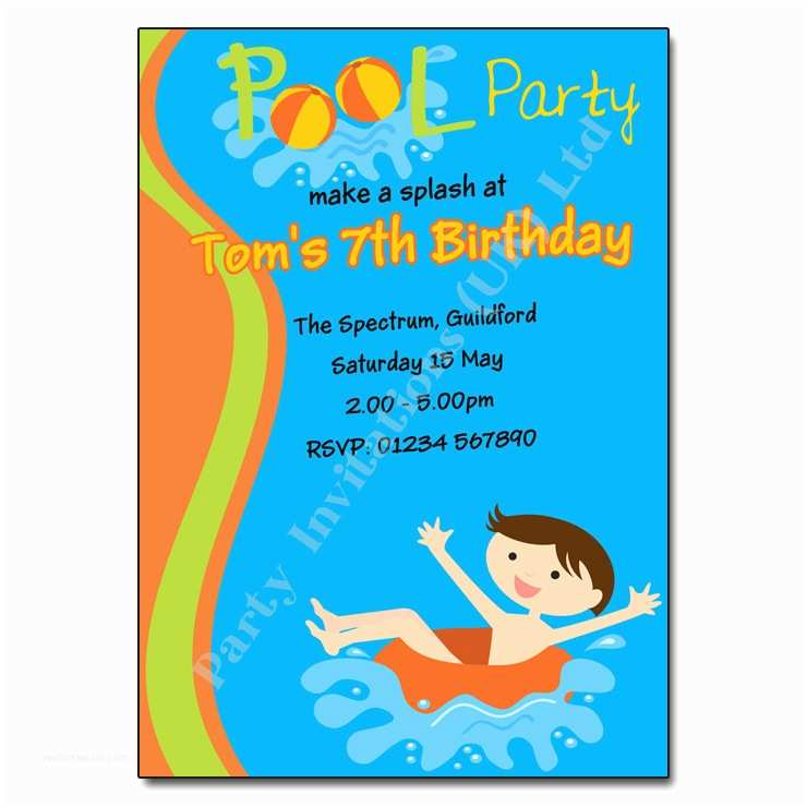 childrens birthday party invitations pool swimming party invitation