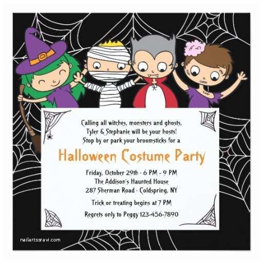 Childrens Halloween Party Invitations Children S Costume Halloween Party Invitation