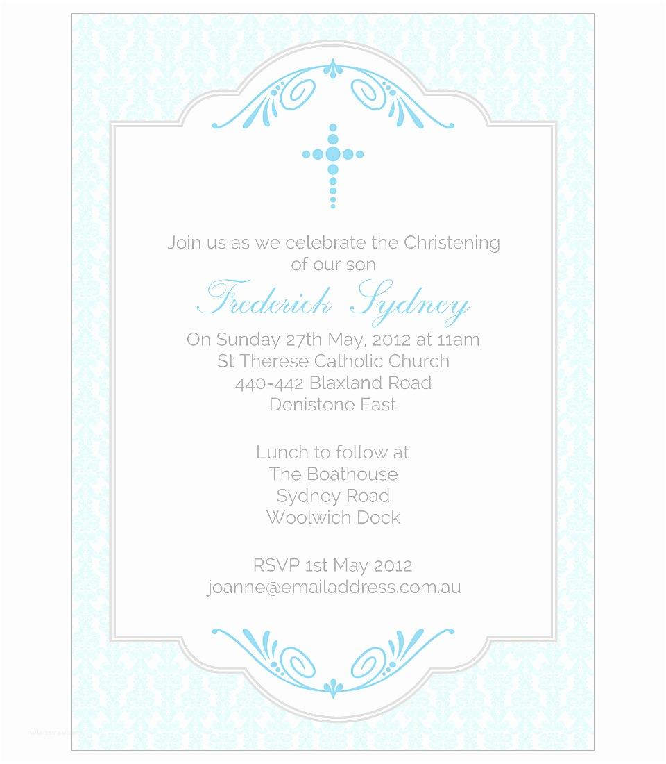 Christening Invitations Boy Baby Blue Damask Christening Invitation