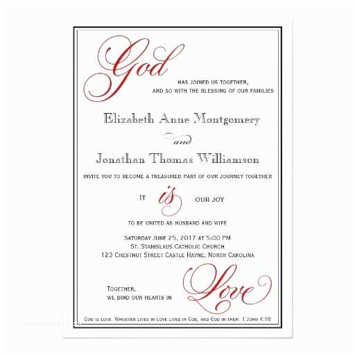 Christian Wedding Invitation Wording Red God is Love Christian Wedding Invitations