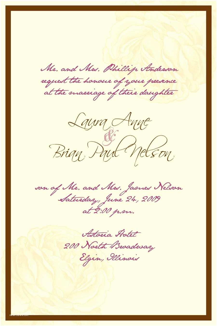 Christian Wedding Invitation Wording Samples From Bride and Groom Catholic Wedding Invitation Wording