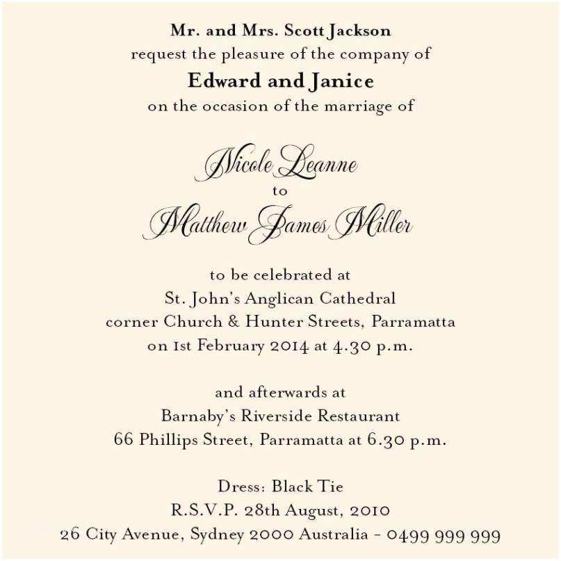 Christian Wedding Invitation Wording Samples From Bride and Groom Proper Wedding Invitation Wording