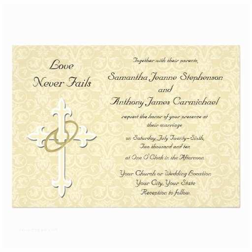 "Christian Wedding Invitations Golden Rings Christian Wedding Invitations 5"" X 7"