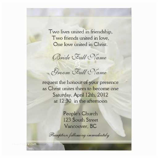Christian Wedding Invitations Pretty White Azalea Flowers Christian Wedding Personalized
