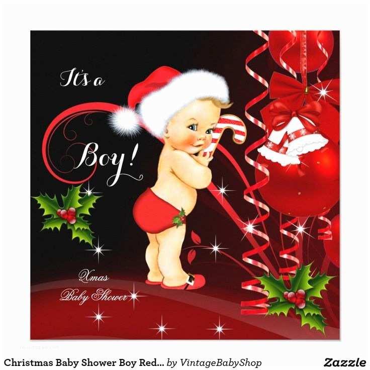 Christmas Baby Shower Invitations Christmas Baby Shower Boy Red Santa Hat Blonde Invitation