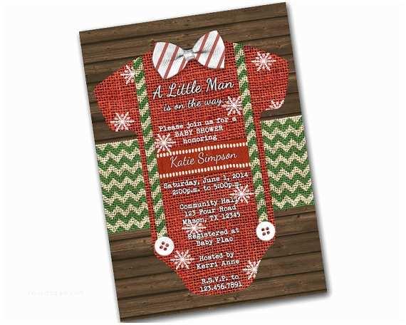 Christmas Baby Shower Invitations Christmas Baby Shower Invitation Bowtie Baby by