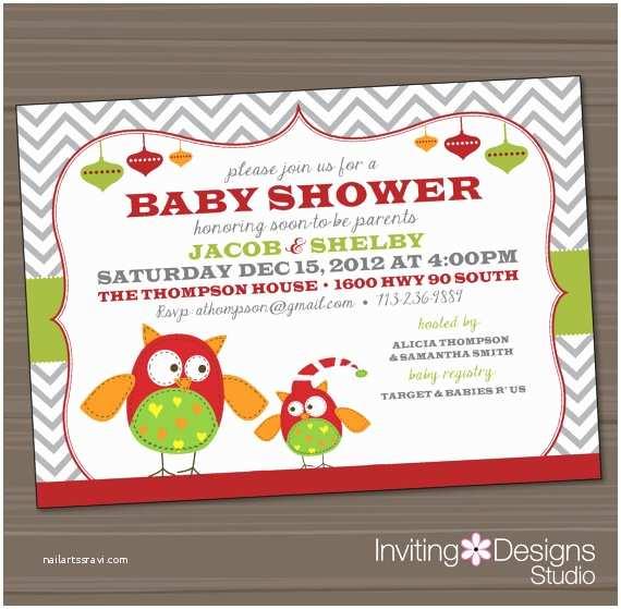 Christmas Baby Shower Invitations Christmas Baby Shower Invitation Owls Red Green Holiday