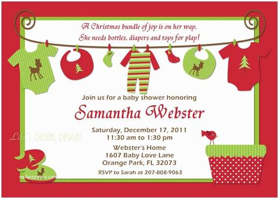 Christmas Baby Shower Invitations Christmas Baby Shower Invitations Baby Clothes On Clothesline