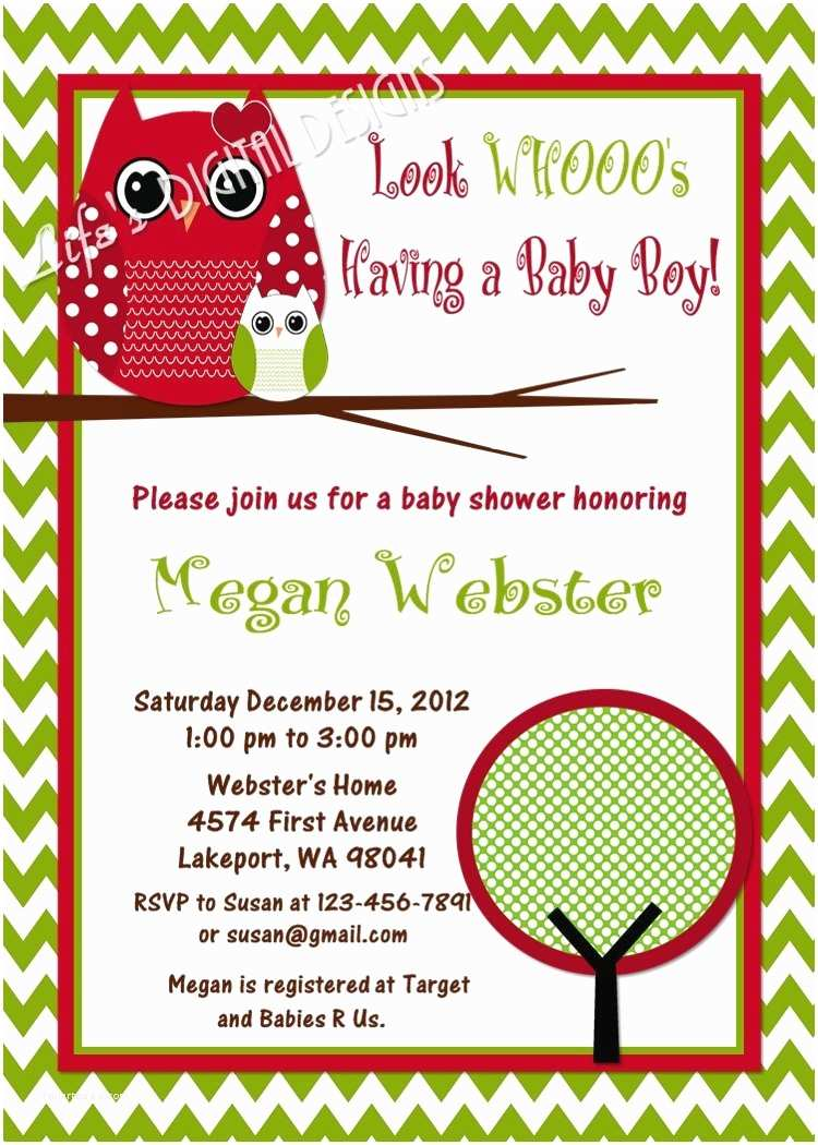 Christmas Baby Shower Invitations Christmas Baby Shower Invitations Owls Red Green Chevron