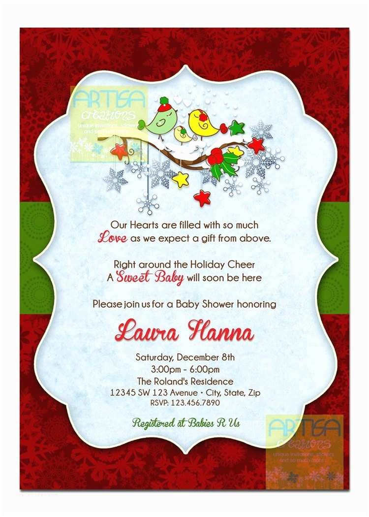 Christmas Baby Shower Invitations Christmas Birds Baby Shower Invitation Winter Birds Baby