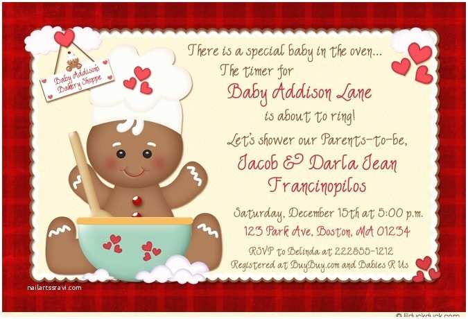 Christmas Baby Shower Invitations Christmas Gingerbread Baby Shower Invitations Holiday