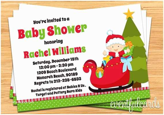 Christmas Baby Shower Invitations Christmas Holiday Baby Shower Invitation Boy or Girl
