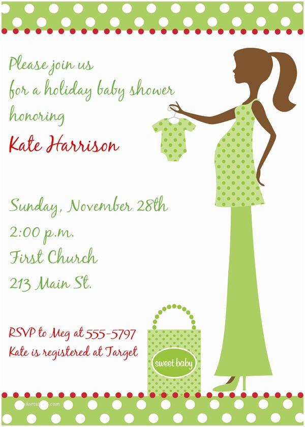 Christmas Baby Shower Invitations Christmas Mommy to Be Green Baby Shower Invitations
