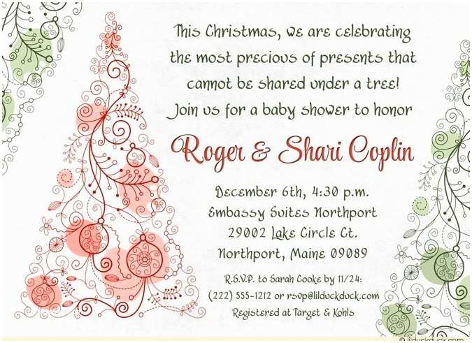 Christmas Baby Shower Invitations Christmas Tree Baby Shower Invitation Precious Gift Joy