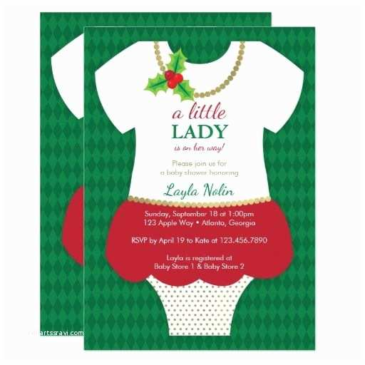 Christmas Baby Shower Invitations Little Lady Baby Shower Invitation Christmas Card