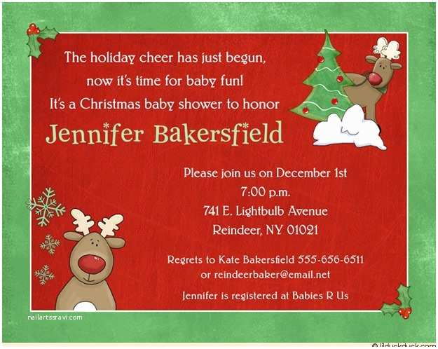 Christmas Baby Shower Invitations Santa S Reindeer Shower Invitation Christmas Red Baby