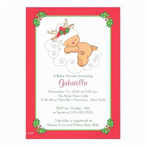 Christmas Baby Shower Invitations Sweet Christmas Baby Shower Invitation Baby Deer