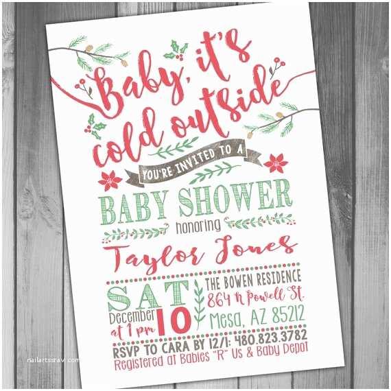 Christmas Baby Shower Invitations Winter Baby Shower Invitation Christmas Baby Shower Printable