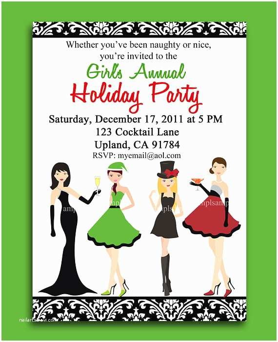 Christmas Cocktail Party Invitations Christmas Cocktail Party Printable or Printed with Free