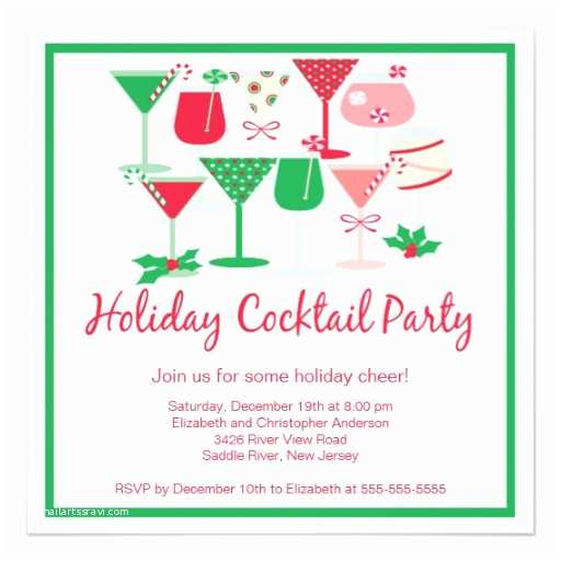 Christmas Cocktail Party Invitations Holiday Cocktail Christmas Party Invitation