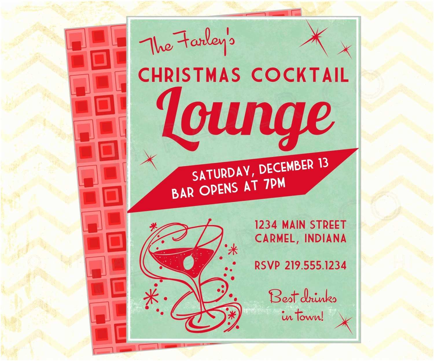 Christmas Cocktail Party Invitations Retro Christmas Cocktail Party Printable Invite Lounge