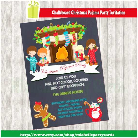 Christmas Pajama Party Invitations Chalkboard Christmas Pajama Party Invitation by