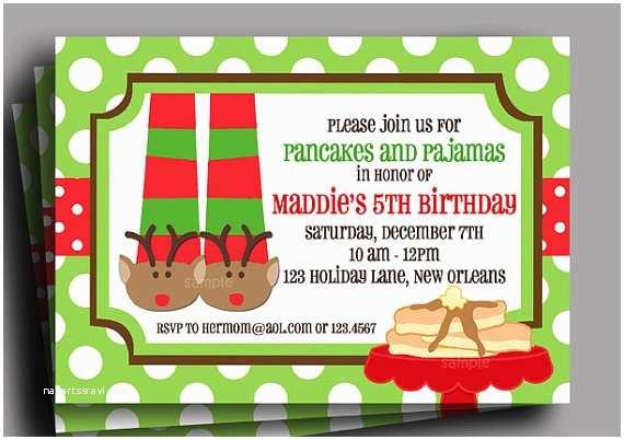 Christmas Pajama Party Invitations Christmas Pajamas and Pancakes Invitation Printable or