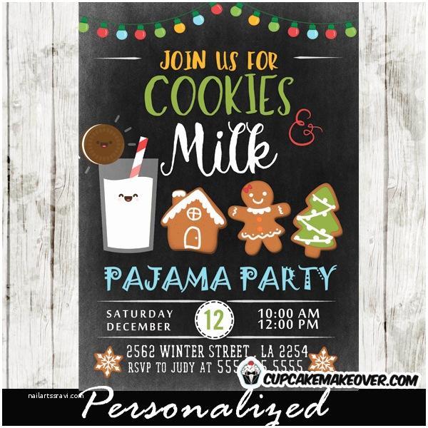 Christmas Pajama Party Invitations Milk and Cookies Pajama Party Invitations Holiday Cookie