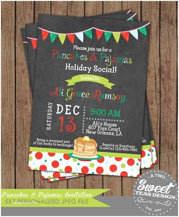 Christmas Pajama Party Invitations Pancakes and Pajamas Invitation Chalkboard Christmas by