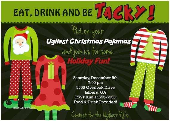 Christmas Pajama Party Invitations Ugly Pajamas Holiday Party Invitation by Party Pop