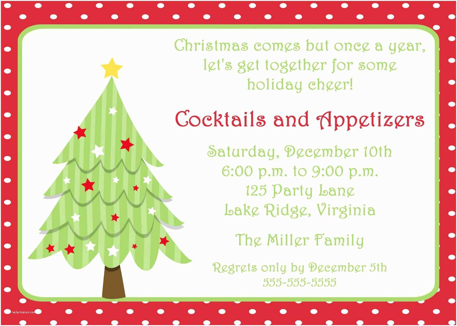 Christmas Party Invitation Wording Christmas Party Invitation Template