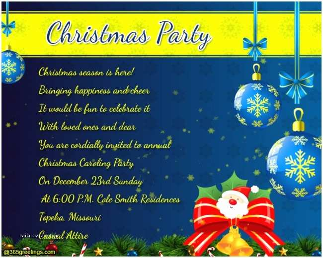 Christmas Party Invitation Wording Christmas Party Invitation Wording 365greetings