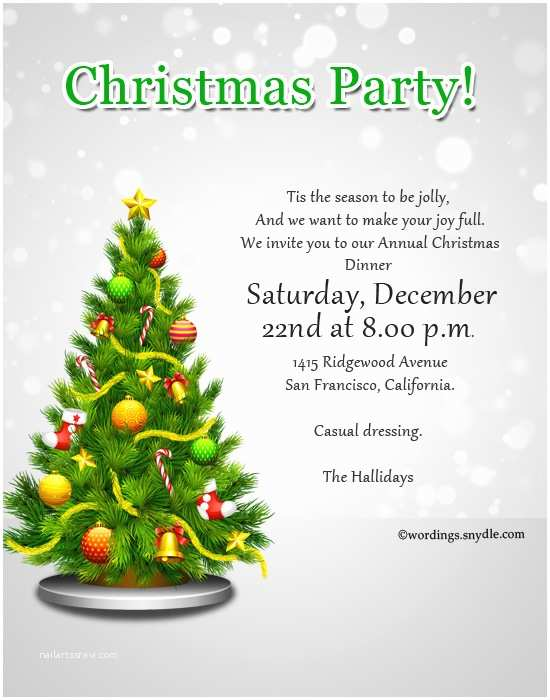 Christmas Party Invitation Wording Christmas Party Invitation Wordings Wordings and Messages