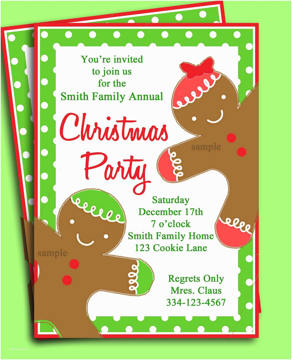 Christmas Party Invitations Christmas Party Invitation Printable Gingerbread Kid