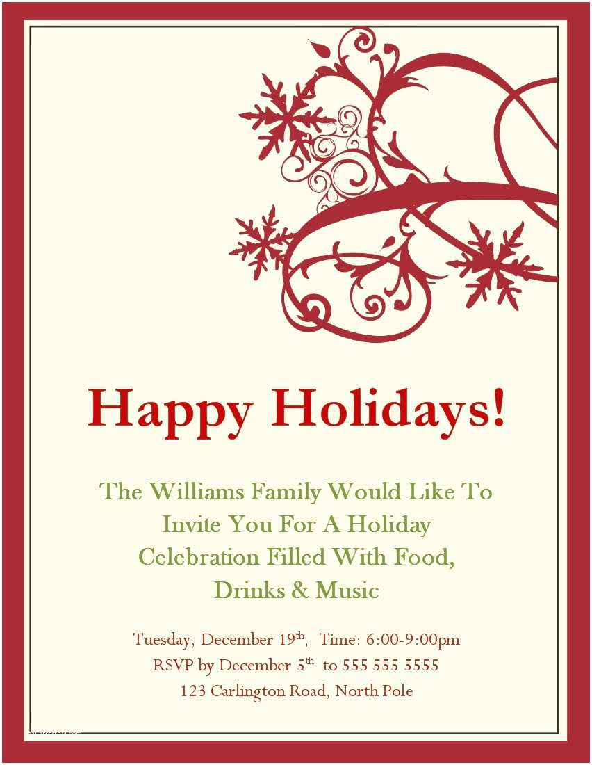 Christmas Party Invitations Holiday Invitation Template
