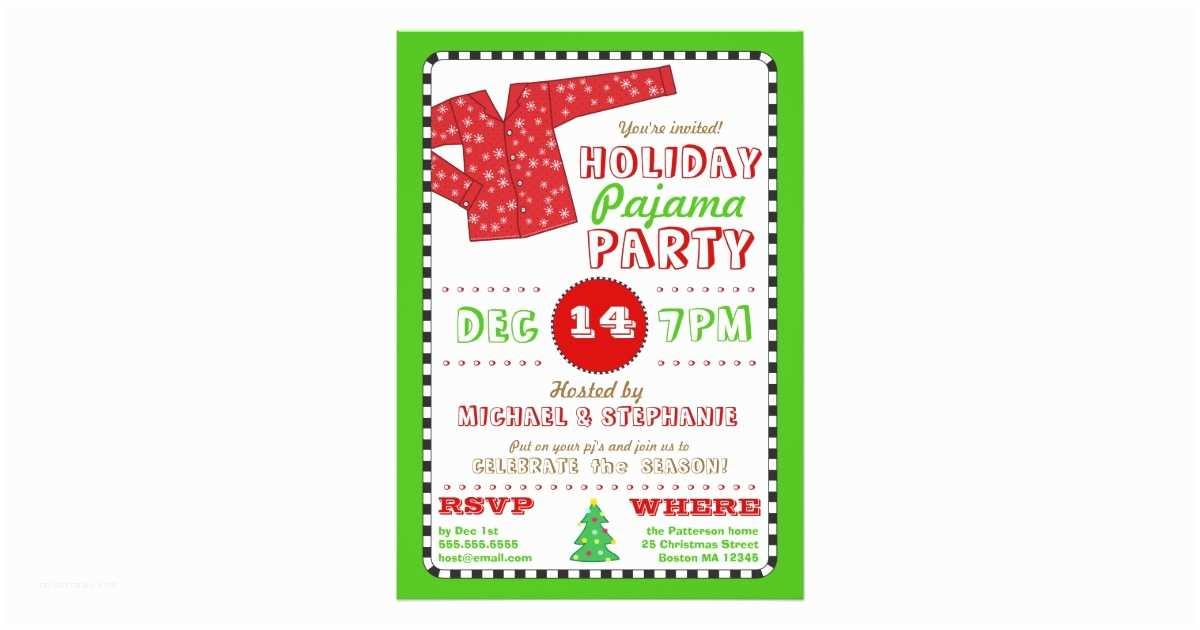 Christmas Party Invitations Holiday Pajama Christmas Party Invitation