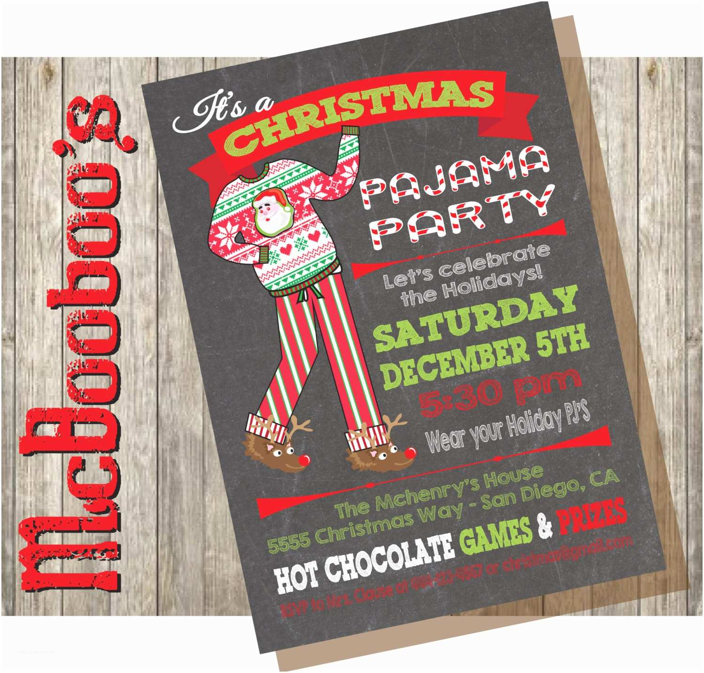 Christmas Pj Party Invitation Chalkboard Christmas Pajama Party Invitations