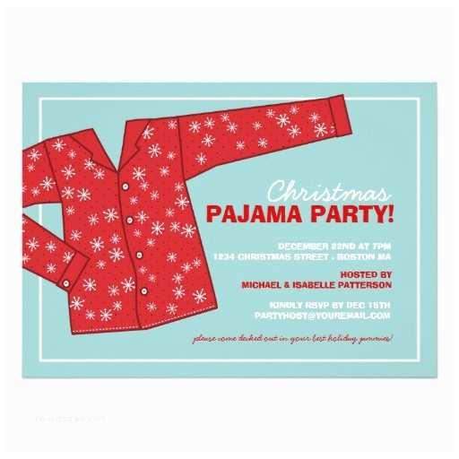 "Christmas Pj Party Invitation Christmas Holiday Pajama Party Invitation 5"" X 7"
