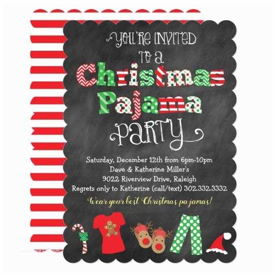 Christmas Pj Party Invitation Christmas Pajama Party Chalkboard Invitation