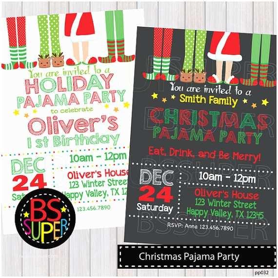 Christmas Pj Party Invitation Christmas Pajama Party Invitation Christmas Pajama Birthday