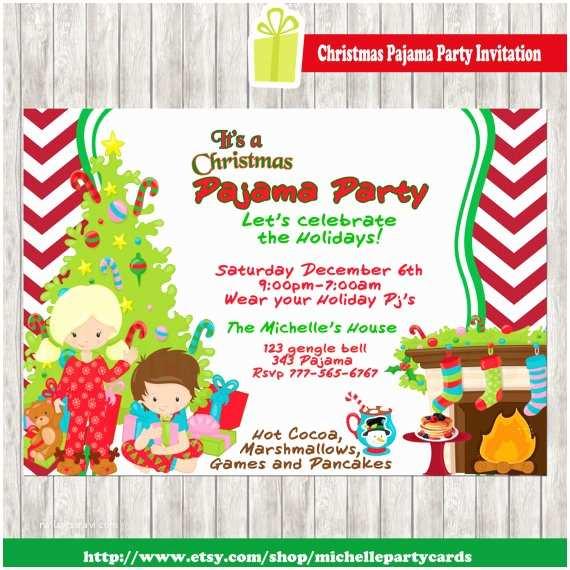 Christmas Pj Party Invitation Christmas Pajama Party Invitation
