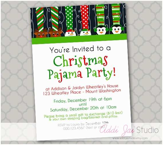 Christmas Pj Party Invitation Christmas Pajama Party Printable Invitation 5x7 by