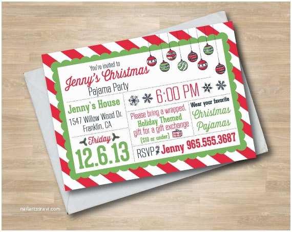 Christmas Pj Party Invitation Items Similar to Pajama Party Christmas Invitation