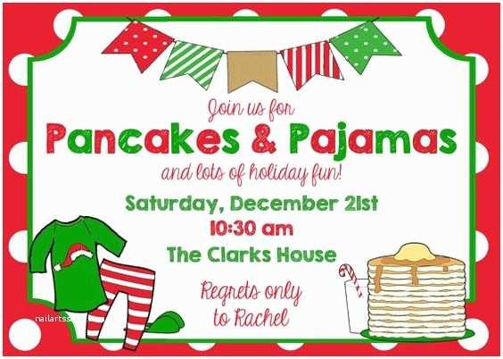 Christmas Pj Party Invitation Pancakes & Pajamas Party Invitation