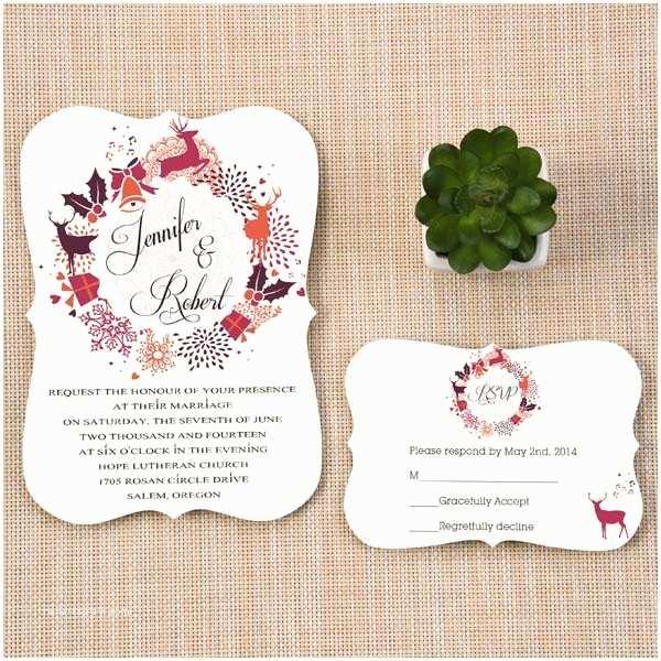 Christmas themed Wedding Invitations Christmas Inspired Winter Holiday Wedding Invitations